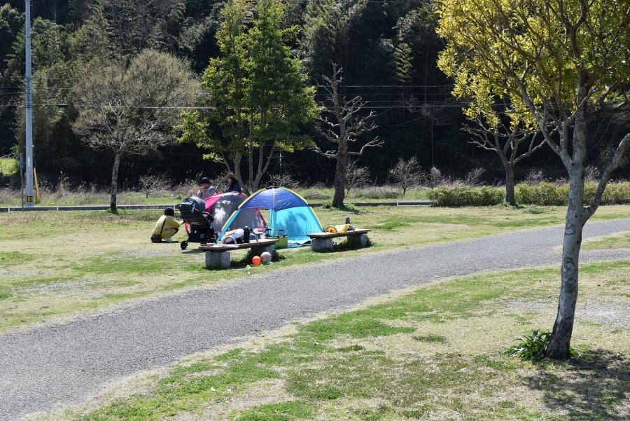テントを張って 一 日のんびり過ごせます