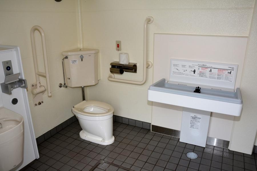 多目的トイレ内におむつ台があります