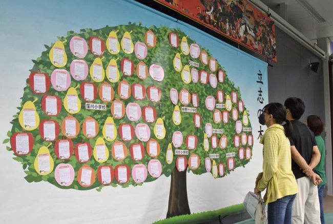 10年後の自分に記したメッセージが並ぶ「立志の木」(四万十町の海洋堂ホビー館四万十)
