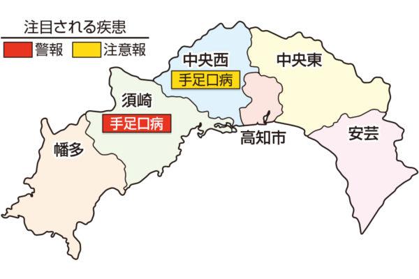 手足口病が須崎で警報、中央西でも流行しています|高知県の感染症情報(9月7~13日)