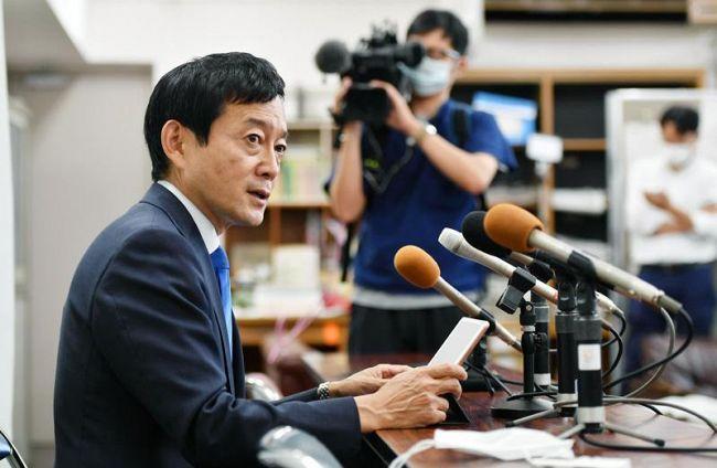 合流新党への入党を正式に表明した広田一氏(県庁記者室)
