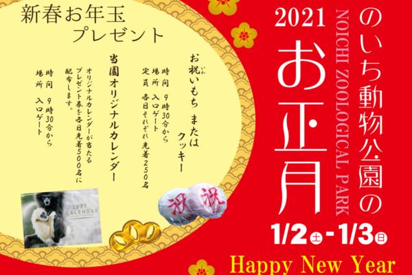 お祝いもちやクッキーがもらえる|香南市で「のいち動物公園の2021お正月」