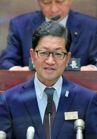 所信表明を行う浜田知事