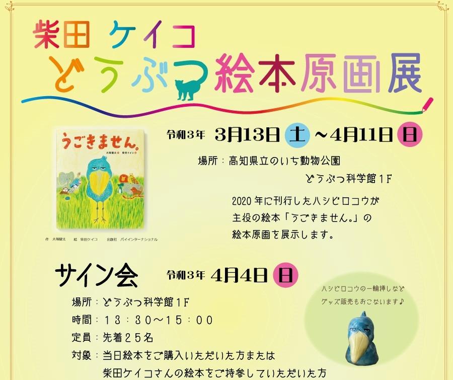 人気のハシビロコウを原画で楽しむ|高知県立のいち動物公園で「柴田ケイコどうぶつ絵本原画展」