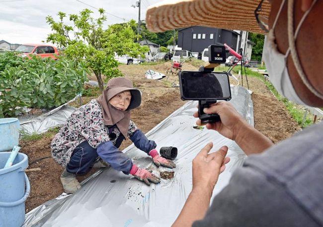 メロンの苗の植え方を伝授するひろちゃん。登録者7万人超えの人気だ(高知市布師田)