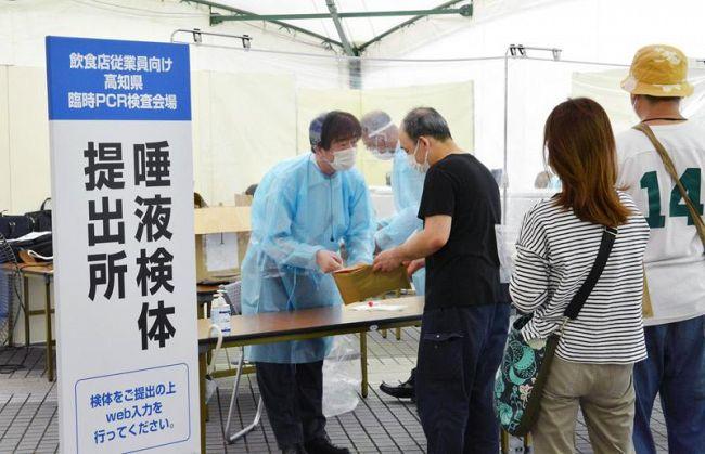 高知市の無症状の飲食店関係者を対象に行われた検査。初日は407人が訪れた(高知市の中央公園)