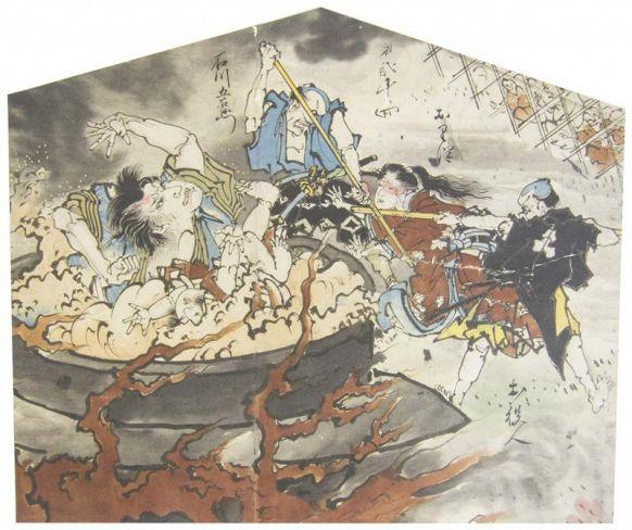 絵金作の絵馬提灯に描かれた石川五右衛門処刑の場面
