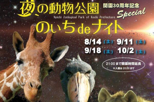高知県立のいち動物公園で「のいちdeナイト」|夜の動物たちを見に行こう