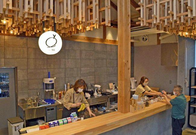 新装オープンする「天然色市場」のコーヒースタンド。若い世代が気軽に来られるようにと設けられた(香南市)