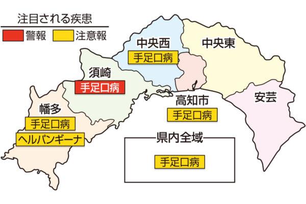 手足口病が須崎で警報です|高知県の感染症情報(2021年9月13~19日 )