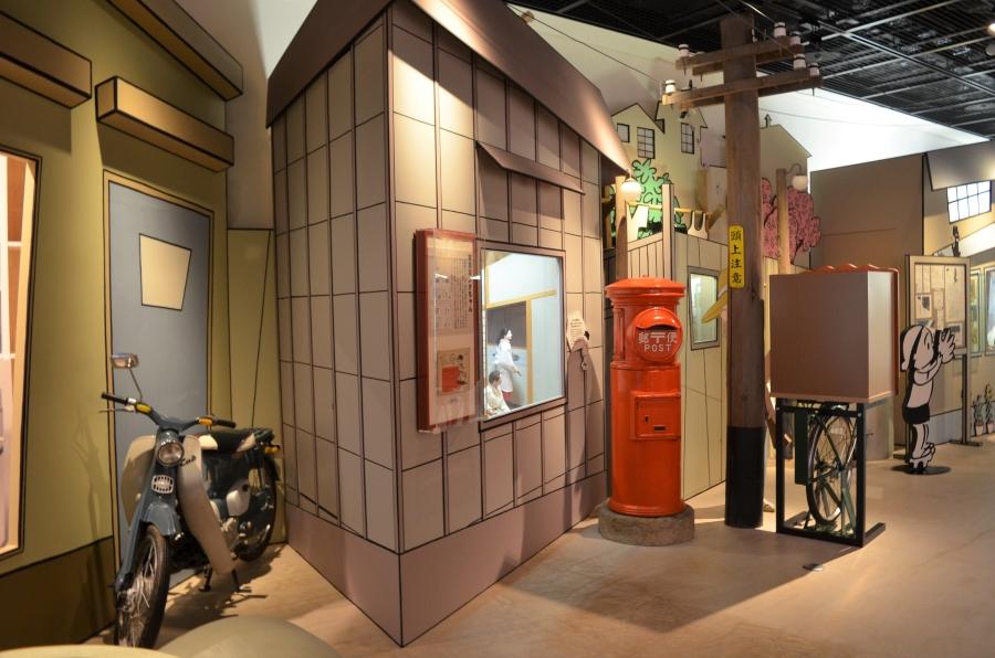 電柱やポストで昭和 30 年代の風景を再現しています